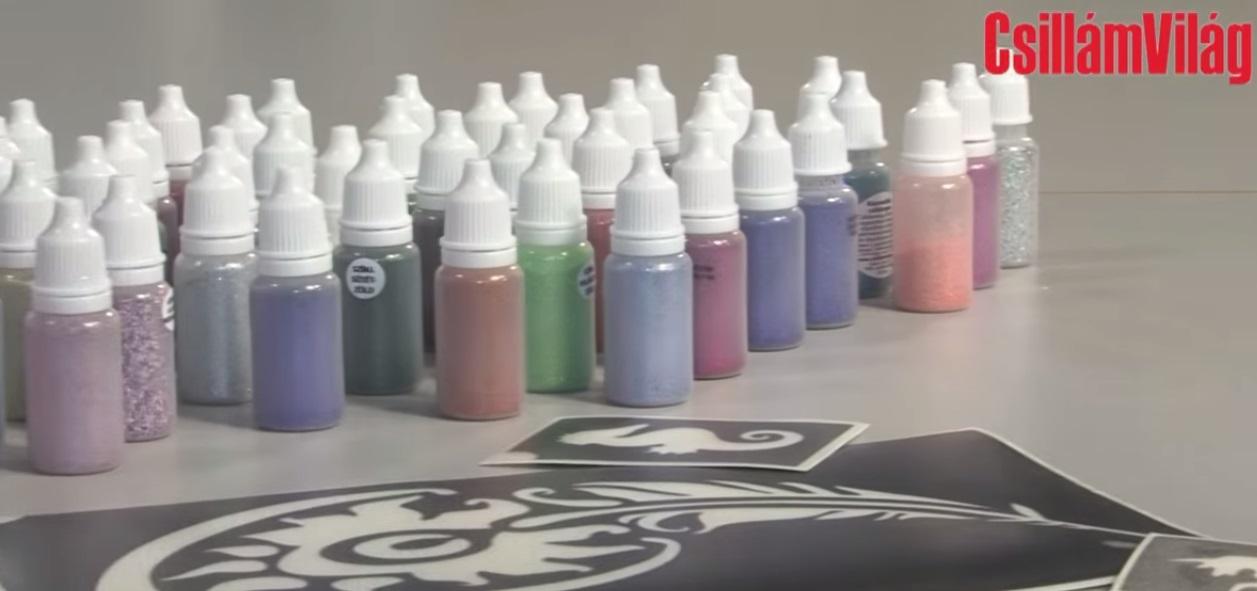 Fújós fiola használata – unikornis csillámtetoválás video